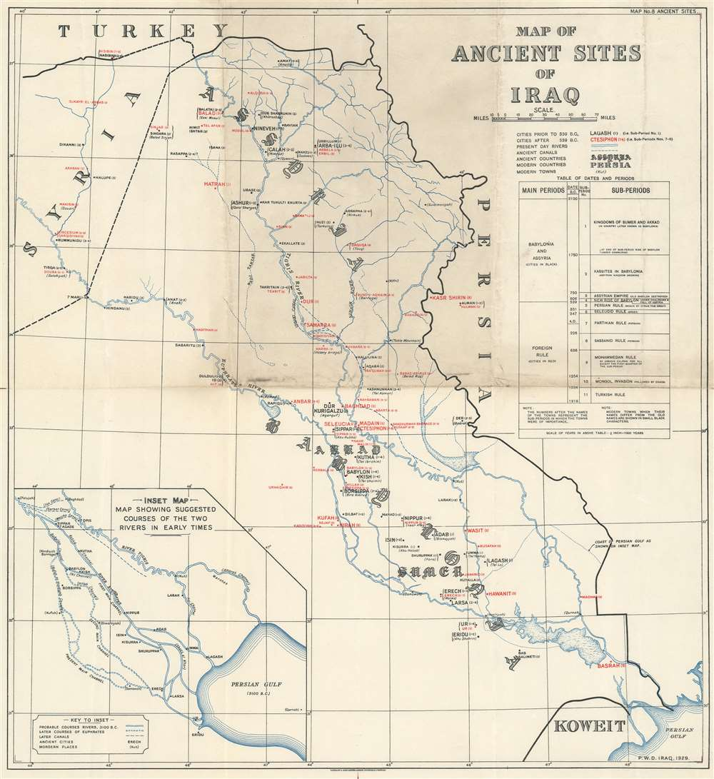 Map of Ancient Sites of Iraq. - Main View