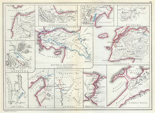 Troja.  Thermopylae.  Marathon.  Plataea.  Mantinea.  Leuctra.  Route of Xenophon and the Ten Thousand Greeks.  Granicus.  Issus.  Arbela.  Thracian Bosporus.  Alexandria.