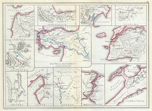 Troja.  Thermopylae.  Marathon.  Plataea.  Mantinea.  Leuctra.  Route of Xenophon and the Ten Thousand Greeks.  Granicus.  Issus.  Arbela.  Thracian Bosporus.  Alexandria. - Main View