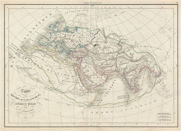 Carte du Monde Connu des Anciens au Temps de Ptolemee.