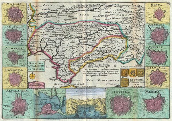 Kaart van Andalusien en Granade. / Royaume D'Andalousie et de Grenade.