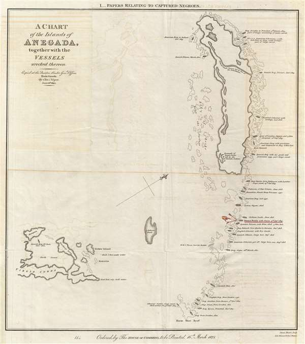 A Chart of the Island of Anegada, together with the Vessels wrecked thereon.