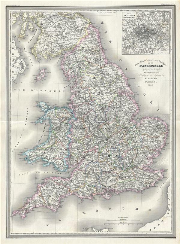 Carte Administrative et Physique de l'Angleterre. - Main View
