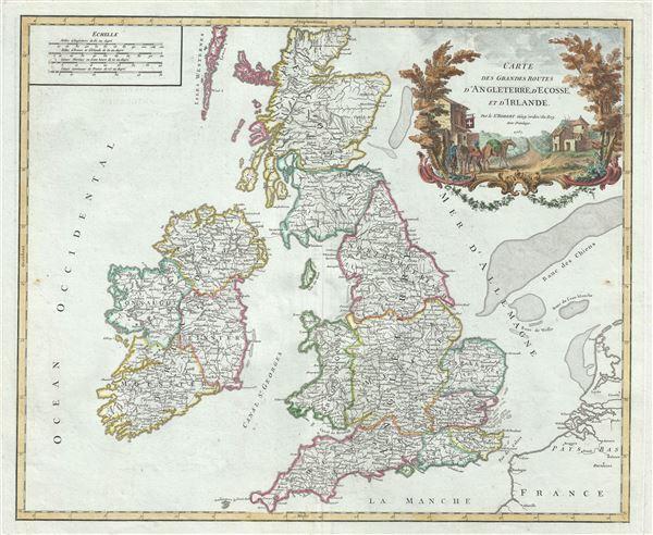 Carte des Grandes Routes d'Angleterre, d'Ecosse, et d'Irlande.