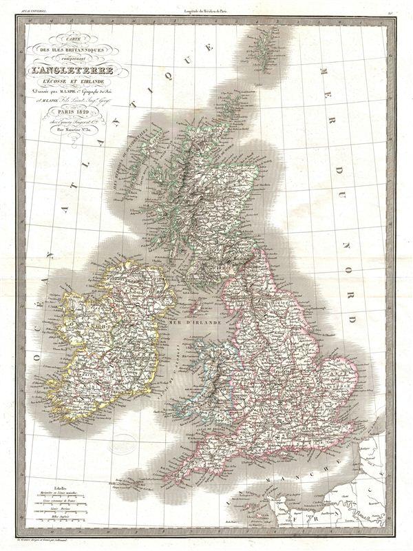 Carte de isle Britanniques comprenant l'Angleterre l'Ecosse et l'Irlande.