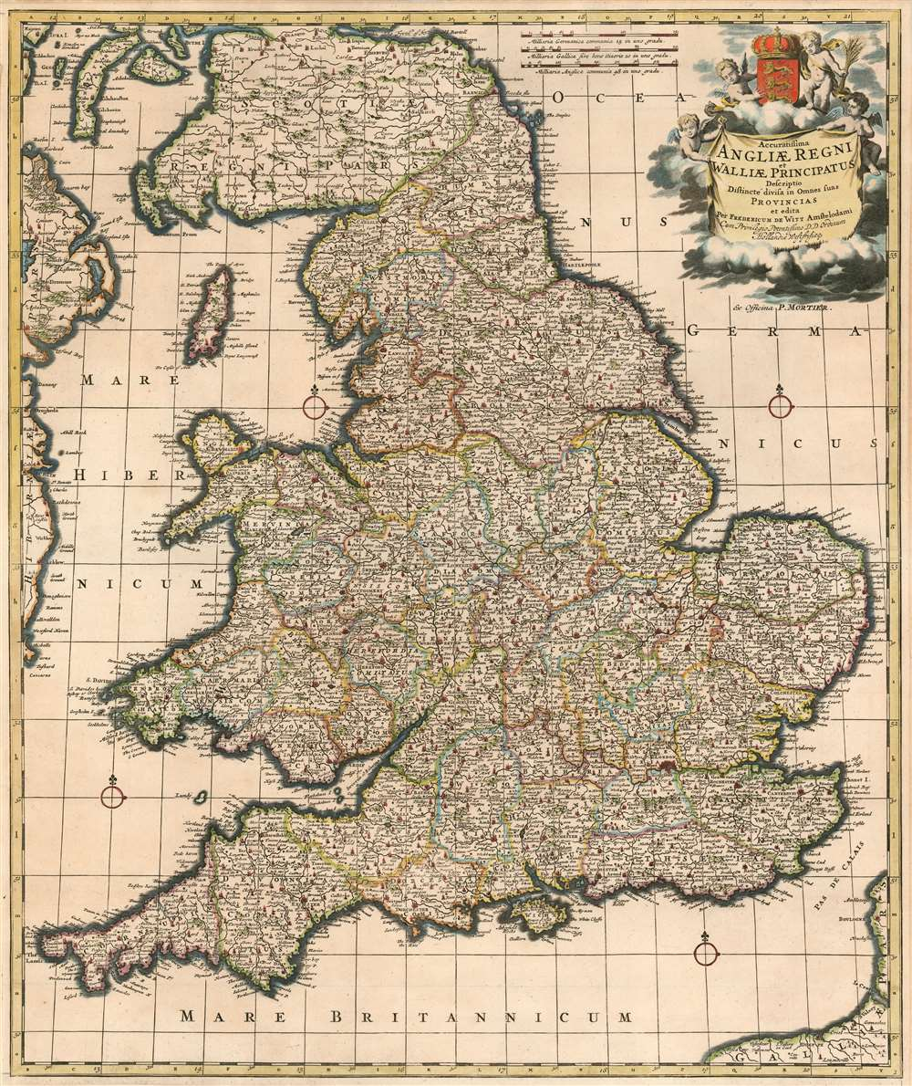 1710 Wit/ Mortier Map of England and Wales: a Scarce State