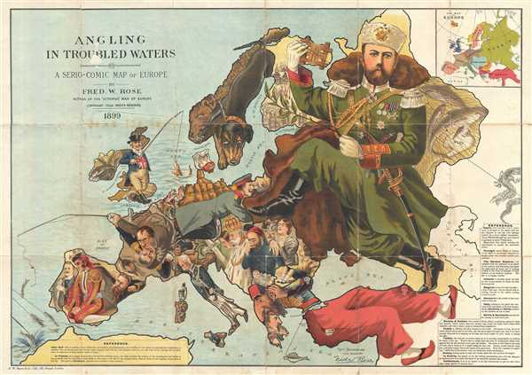 Angling in Troubled Waters A Serio-Comic Map of Europe by Fred. W. Rose Author of the 'Octopus Map of Europe'