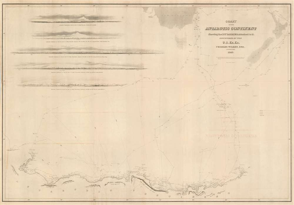 1840 Wilkes Map of Wilkes Land, Antarctica (map that proved Antarctica a contine