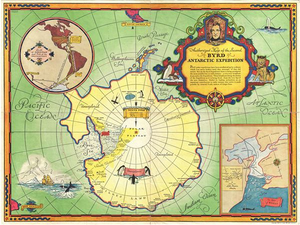 Authorized Map of the Second Byrd Antarctica Expedition.