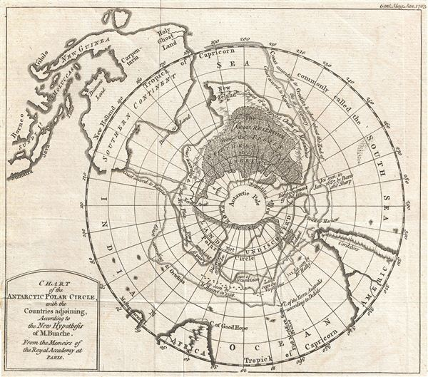 Chart of the Antarctic Polar Circle, with the Countries Adjoining, According to the New Hypothesis of M.  Buache.  From the Memoirs of the Royal Academy at Paris.