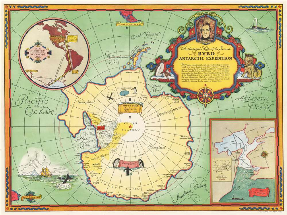 Authorized Map of the Second Byrd Antarctic Expedition. - Main View