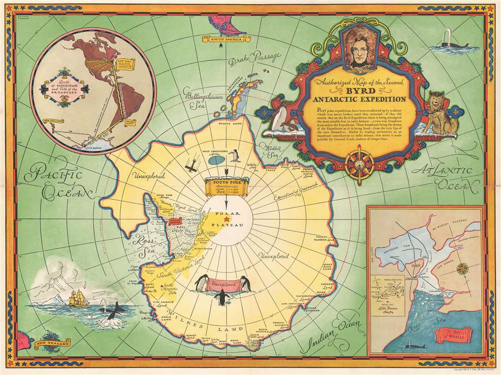 1934 Annand Pictoral Map of the Byrd Antarctic Expedition