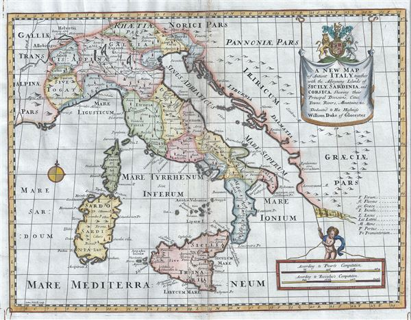 A New Map of Antient Italy, together with the Adjoyning Islands of Sicily, Sardinia, and Corsica, Shewing their Principal Divisions, Cities, Towns, Rivers, Mountains etc.
