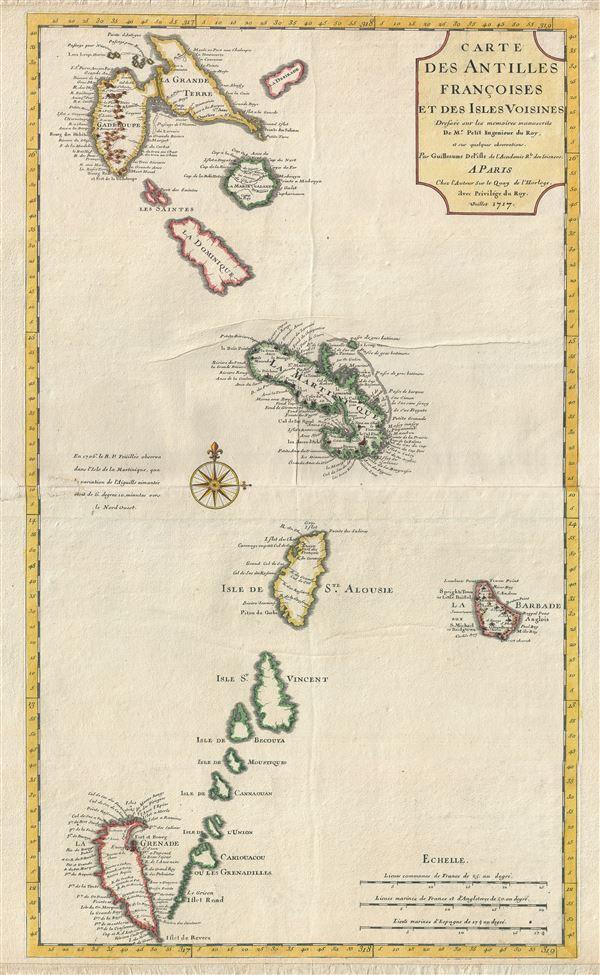 Carte des Antilles Francoises et Des Isles Voisines.