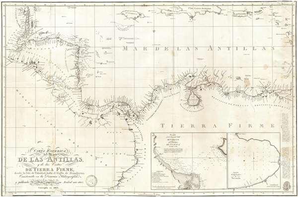 Carta Esferica del Mar de Las Antillas y de la Costas de Tierra Firme, desde la Isla de Trinidad, hasta el Golfo de Honduras Construida en la Direccion Hidrografica y pubicada de orden superior en Mardrid ano 1805.