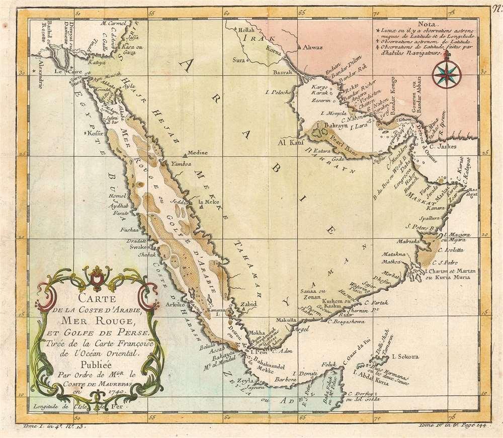 1740 Bellin Map of the Arabian Peninsula
