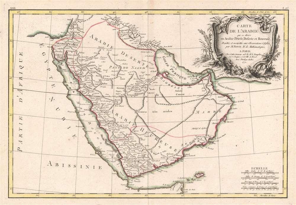 Carte de l'Arabie qui se divise en Arabie Pétrée, Deserte et Heureuse, Projettée et assujettie aux Observations Celestes. - Main View