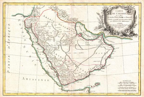 Carte deL'Arabie qui se divise en Arabie Petree, Deserte et Heureuse, Projettee en assujettie aux Observations Celestes.