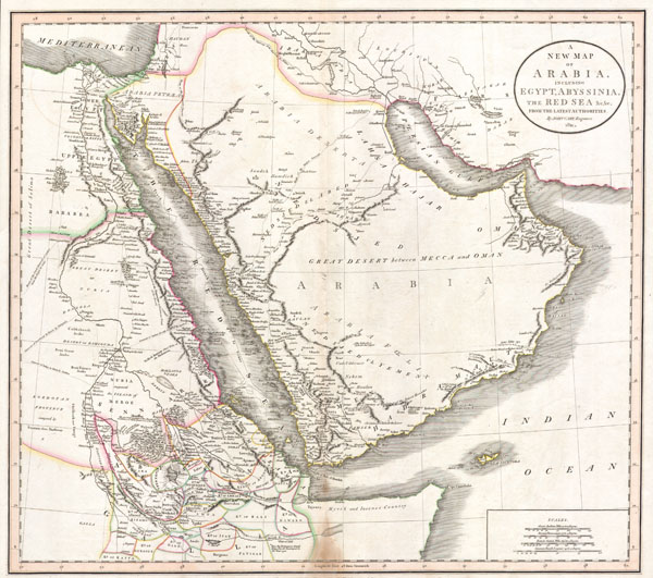 A New Map of Arabia, including Egypt, Abyssinia, the Red Sea & c. & c. from the latest Authorities. - Main View