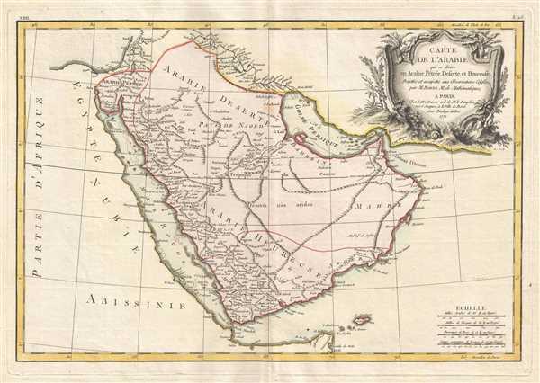 Carte de l'Arabie qui se divise en Arabie Pétrée, Deserte et Heureuse, Projettée et assujettie aux Observations Celestes.