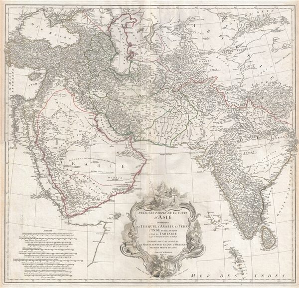 Premiere Partie de la Carte d'Asie contenant La Turquie, L'Arabie, La Perse, L'Inde en deca du Gange et de la Tartarie ce qui est limitrophe de la Perse et de l'Inde.