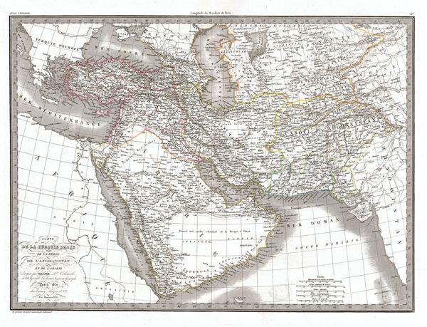 Carte de la Turquie d'Asie de la Perse de l'Afghanistan et de l'Arabie.
