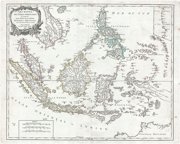 Archipel des Indes Orientales, qui comprend les Isles de la Sonde, Moluques et Philippines, tirees des Cartes du Neptune Oriental.