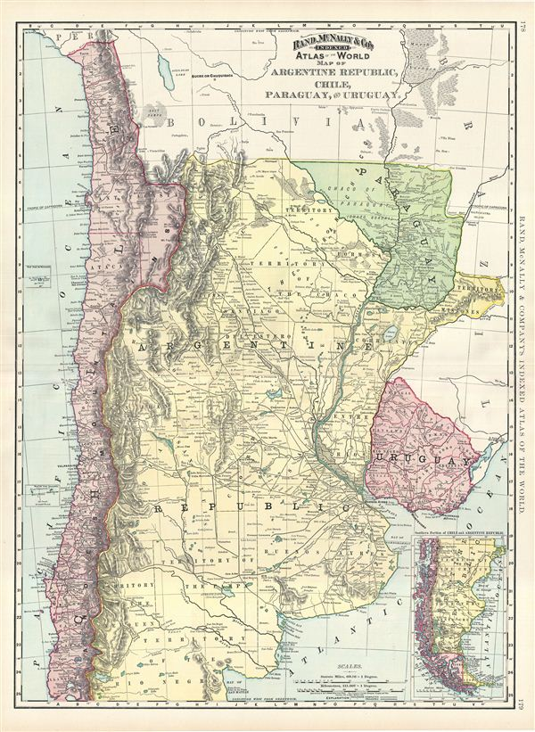 Map of Argentine Republic, Chile, Paraguay, and Uruguay.