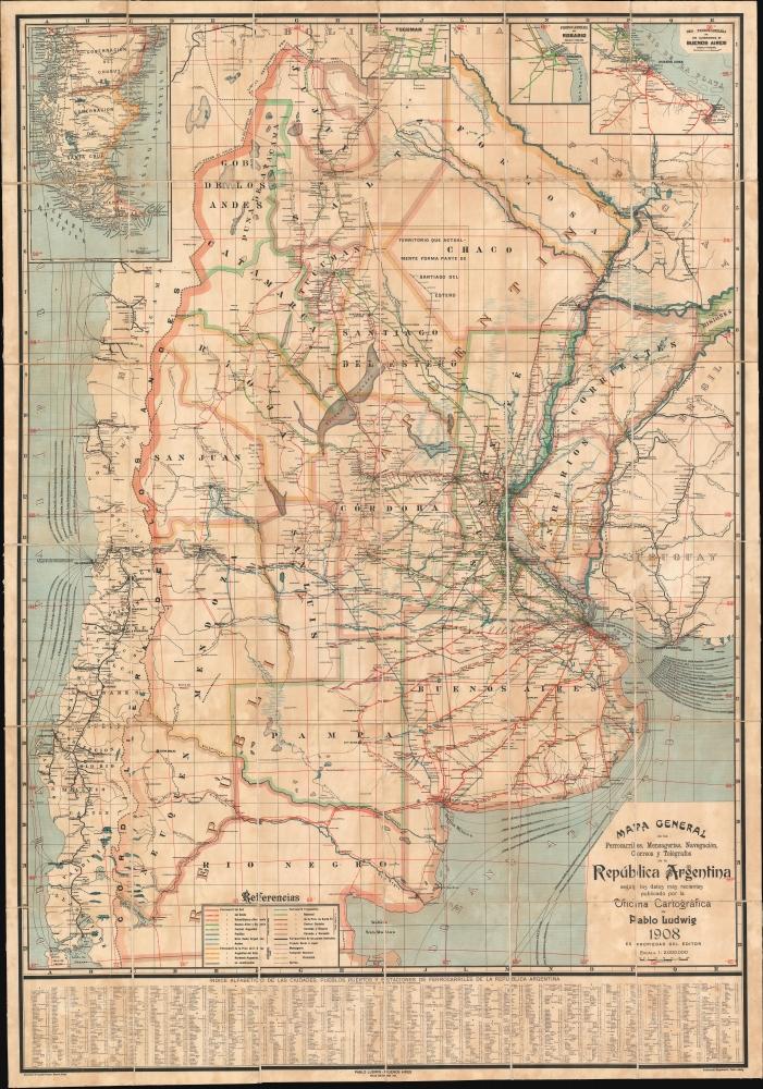 Mapa General de los Ferrocarriles, Mensagerias, Navegación, Correos y Telégrafos de la República Argentina. - Main View