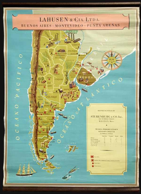 LaHusen & Cia. Ltda.  Buenos Aires ● Montevideo ● Punta Arenas / Represented by Sturenburg & Co. Inc. 232 Summer Street Boston, Mass ● Wool-Production Season 1953-54.