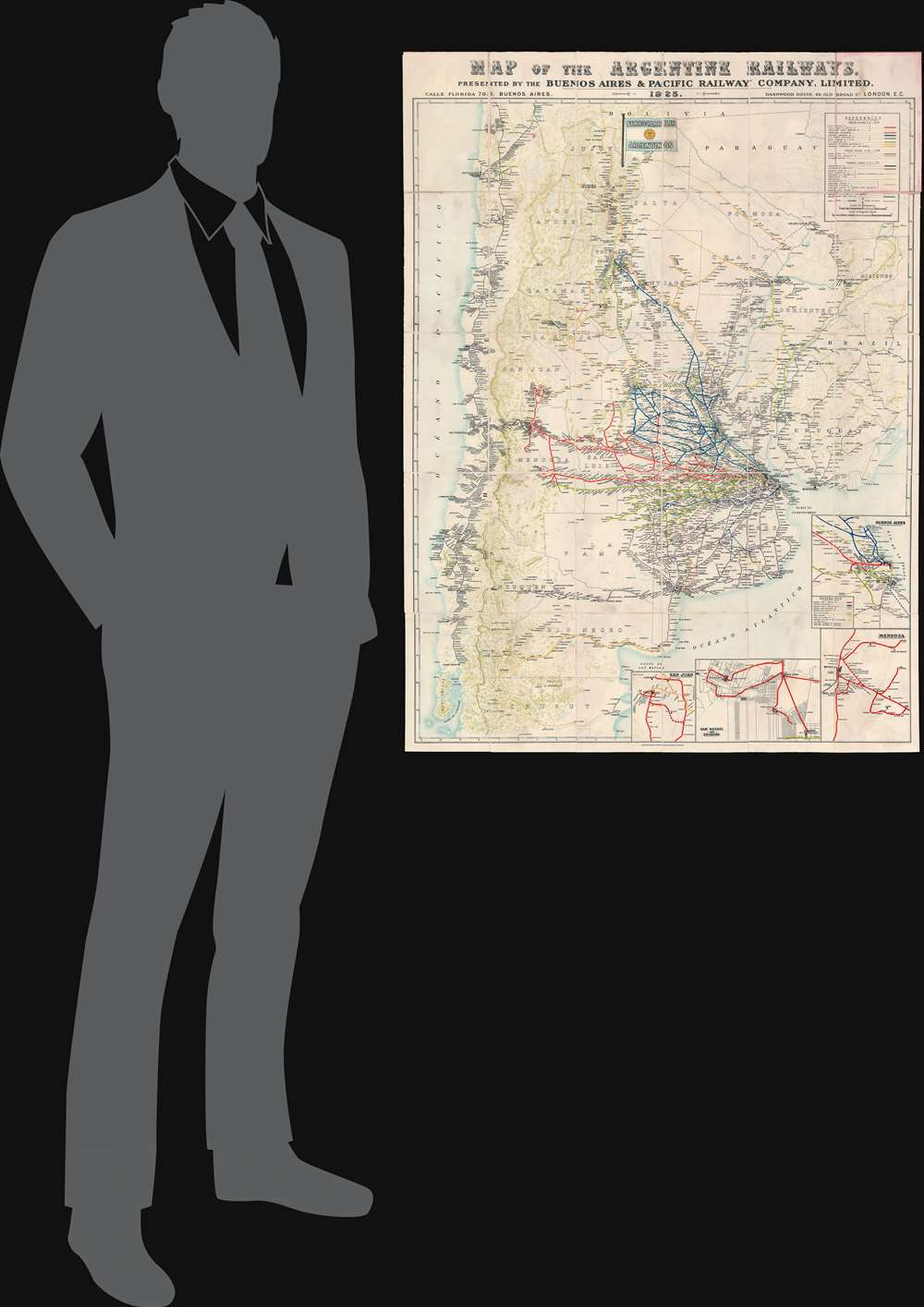 Map of the Argentine Railways.  Presented by the Buenos Aires and Pacific Railway Company, Limited. - Alternate View 1