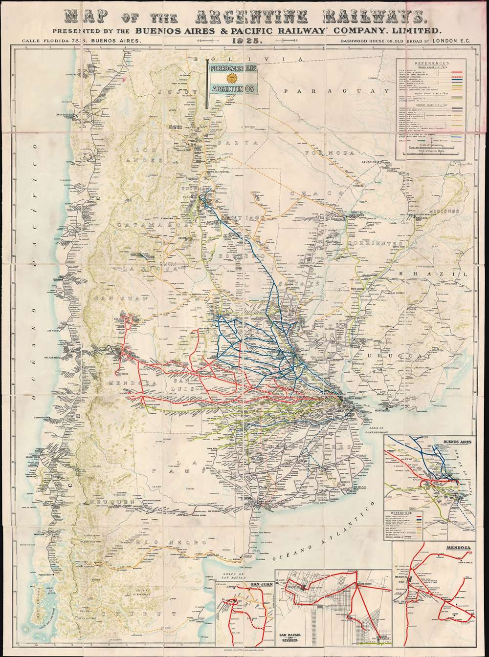 Map of the Argentine Railways.  Presented by the Buenos Aires and Pacific Railway Company, Limited. - Main View