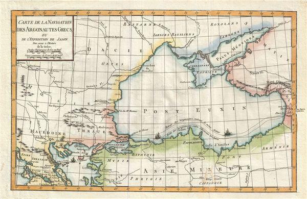 Carte de la Navigation des Argonautes Grecs, ou de l'Expedition de Jason pour servir a l'Histoire de la Grece.