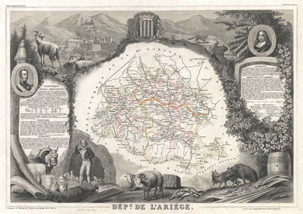 1852 Levasseur Map of Ariege Department, France (famous for its cheese)