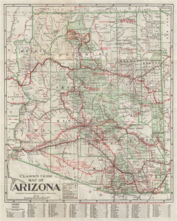 Clason's Guide Map of Arizona.