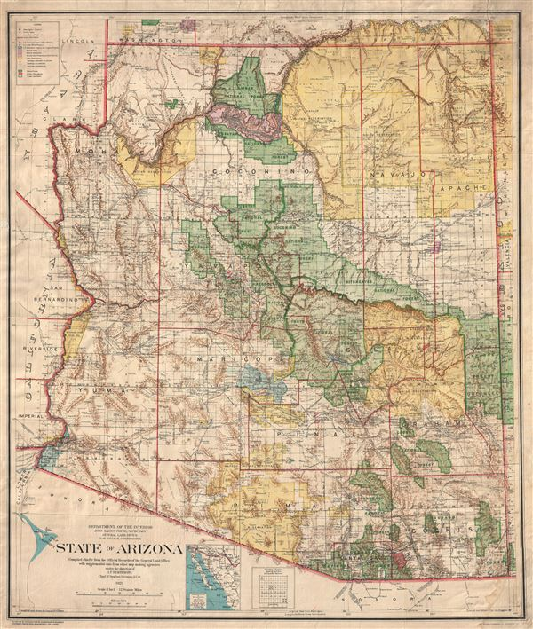 State of Arizona compiled chiefly from the official records of the General Land Office with supplemental data from other map making agencies, under the direction of I.P. Berthrong, chief of drafting division, G.L.O.