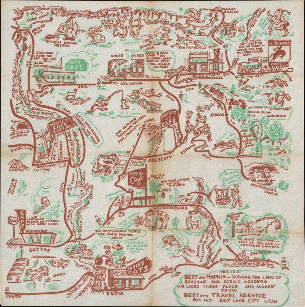 1948 Pictorial Tourist Map of Northwest Arizona Printed on a Napkin