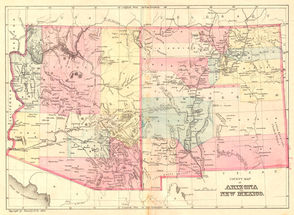 County Map of Arizona and New Mexico Geographicus Rare Antique Maps