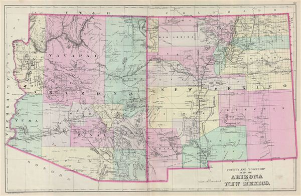 County and Township Map of Arizona and New Mexico.
