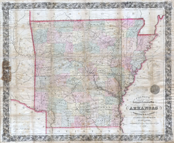 Colton's Railroad & Township Map of Arkansas.