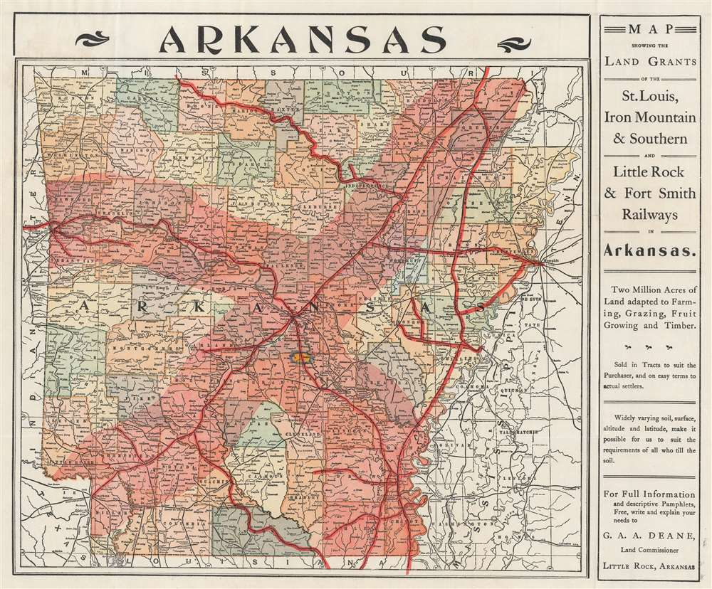 Map Showing the Land Grands of the St. Louis, Iron Mountain and Southern, and Little Rock and Fort Smith Railways in Arkansas. - Alternate View 1