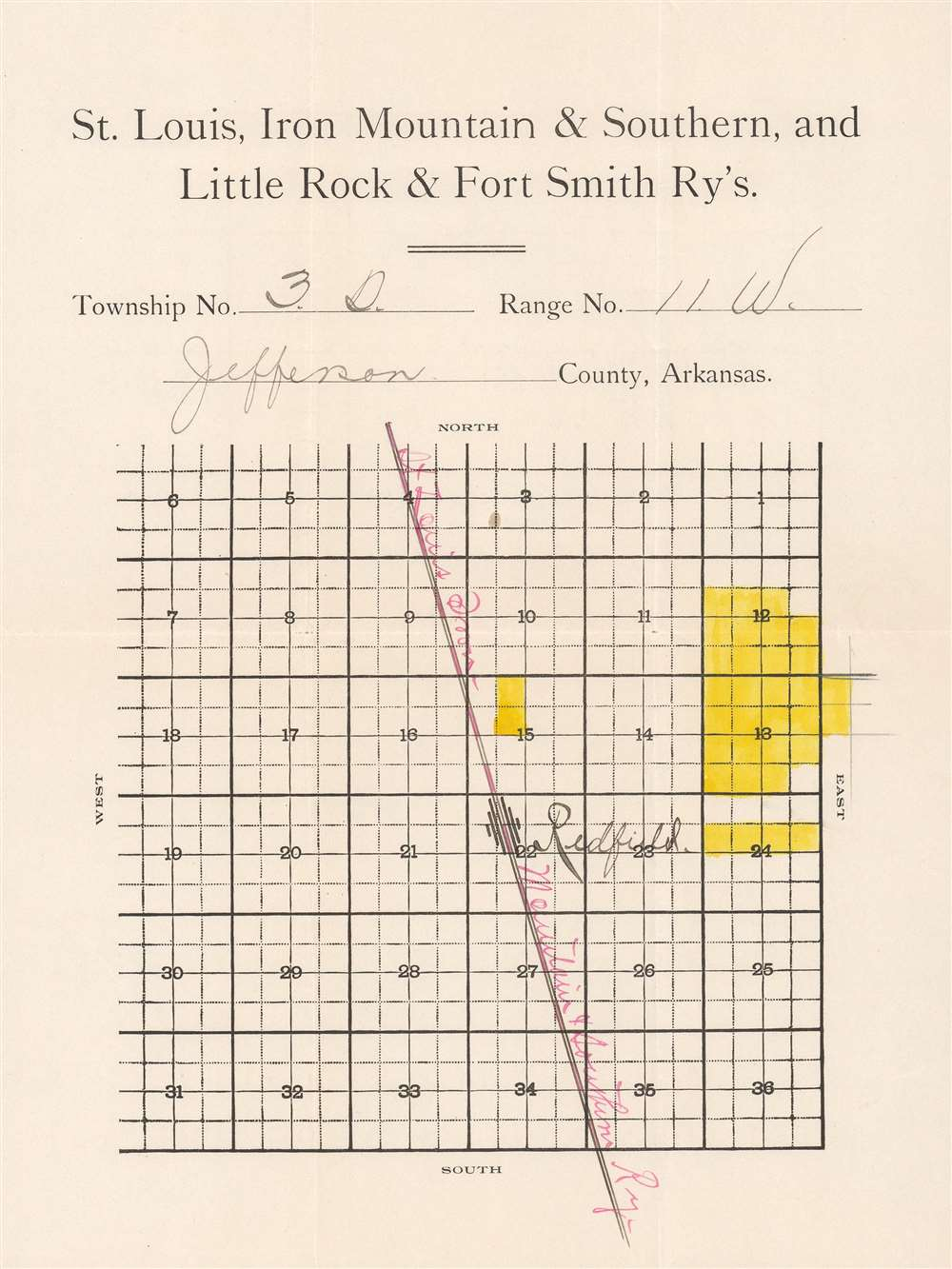Map Showing the Land Grands of the St. Louis, Iron Mountain and Southern, and Little Rock and Fort Smith Railways in Arkansas. - Alternate View 2