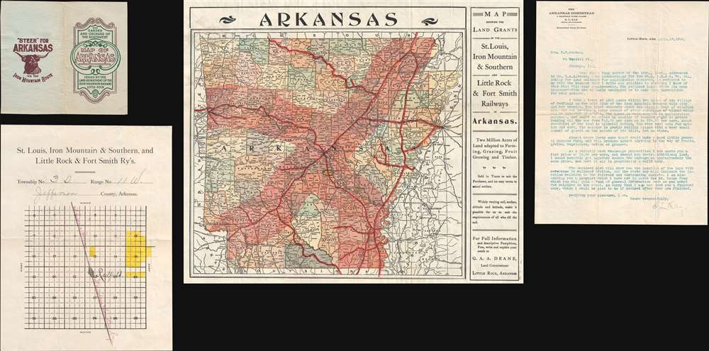 Map Showing the Land Grands of the St. Louis, Iron Mountain and Southern, and Little Rock and Rort Smith Railways in Arkansas. - Main View