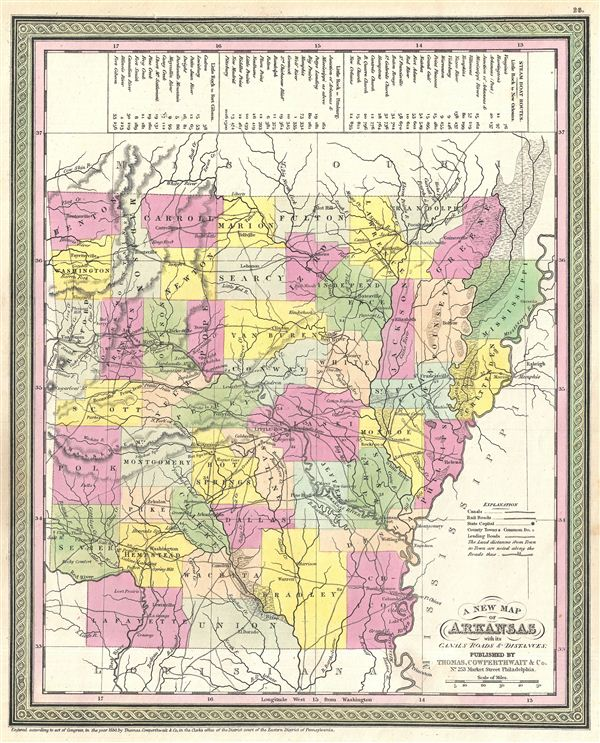 A New Map of Arkansas with its Canals, Roads & Distances. - Main View