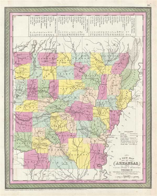 A New Map of Arkansas with its Canals, Roads, and Distances.