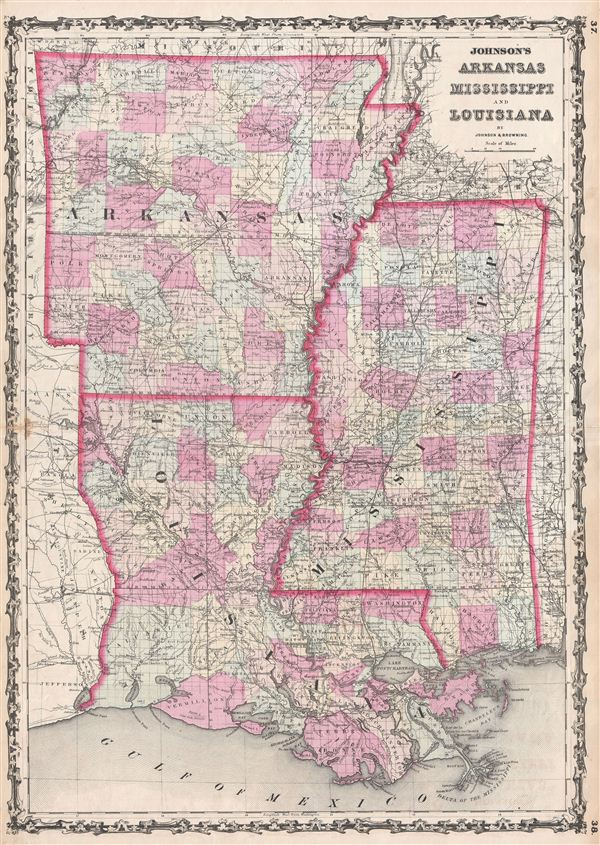 Johnson's Arkansas Mississippi and Louisiana.: Geographicus Rare