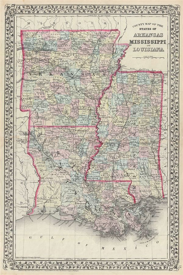 County Map of the States of Arkansas, Mississippi and Louisiana.