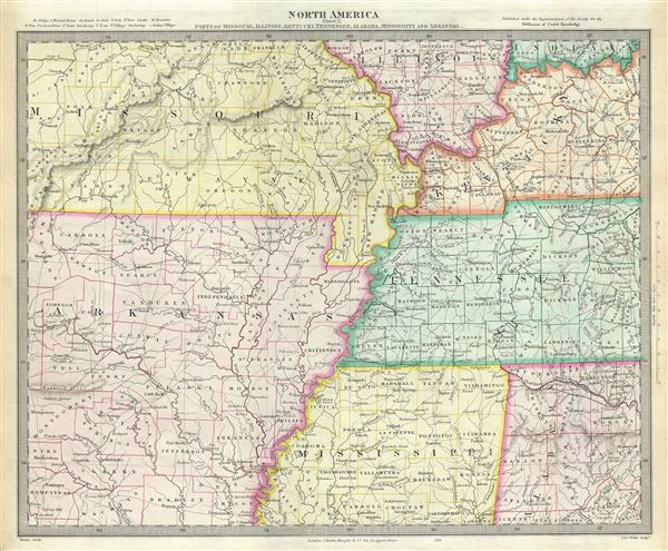 North America Sheet X Parts of Missouri, Illinois, Kentucky, Tennessee, Alabama, Mississippi and Arkansas.