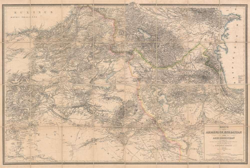 Karte von Armenien, Kurdistan und Azerbeidschan in vier blatt im Anschluss an die IV westlichen und mittleren Blätter der Karte von Klein-Asien, entworfen und bearbeitet 1852-55 - Main View