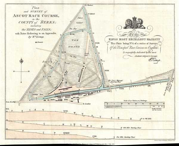 Plan and Survey of Ascot Race Course in the County of Berks ; including the Rises and Falls; with Notes Referring to an Appendix. - Main View